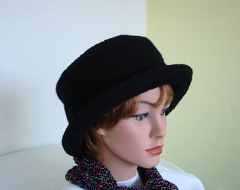 at / Cloche of Boiled Wool -black- Womans Hat Formal Hat- Wool Hat - black Hat - 20 colors / every size