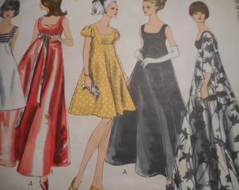 Vintage 1960's Vogue 6924 Special Design Evening Dress Sewing Pattern Size 12 Bust 32