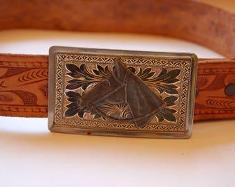 Childrens Vintage Leather Western belt. Vintage Leather Rodeo Belt. Childs leather belt with horse buckle