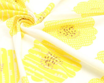 """RESERVED - Sunflower Knit, Yellow Flower Knit Fabric, Cotton Knit Fabric - 33"""" Wide - Fabric By the Yard 68173 GJ"""