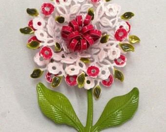 "Vintage Enamel Metal Flower Brooch Spring Pink Fuchsia Pin 3"" Dainty Sweet!"