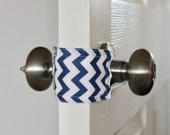 Navy Chevron Door Silencer, Door Jammer, Nursery Door Silencer, Door cushion, Door latch cover, baby shower gift, PATENTED LATCHY CATCHY