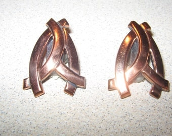 Renoir Copper Retro Earrings  Vintage Costume Jewelry #2309