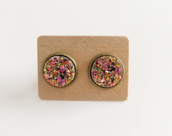 Gold/Pink Faux Druzy on Antique Brass Studs