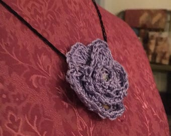 Lilac Rose crocheted necklace