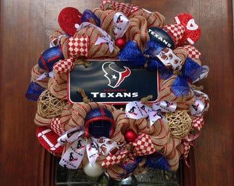 Khaki Mesh Texans Wreath