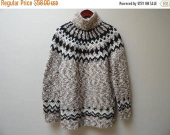 SALE Fisherman Sweater Fairisle Brown Wool Vintage L XL