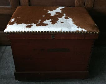 Antique Chest with Cow Hide Top