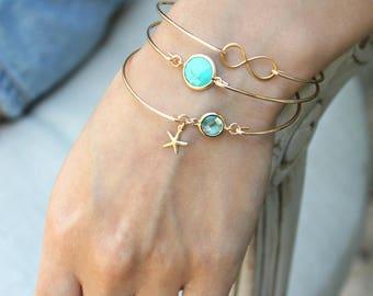 Turquoise Bangle bracelet, aquamarine & mini starfish, infinity bracelet, 14k Gold Filled stacking bracelet, something blue, bridesmaids