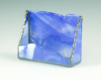 Business Card Holder for Men, Desktop Accessories for Home Office, Cobalt Blue and White, Stained Glass, Cubicle Buddy Gift