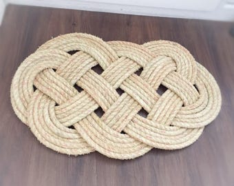 "Nautical Rope Knot Door Mat, Ocean Plait Deck Mat, Reclaimed Leaded 14mm Rope, Nautical Decor, Large 29""x18"""