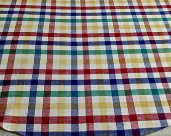Primary Colors And White Plaid Tablecloth 52 In ROUND