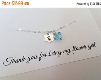 ON-SALE CHILD Size - Thank You for Being My Flower Girl -  Personalized Flower Initial and Birthstone Bracelet