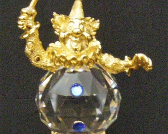 "Swarovski Crystal ""Trimlite"" figurine - ""Clown with Umbrella"" ca 1985"