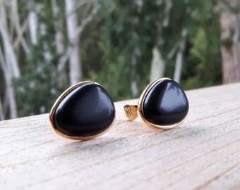 Monet Semi Precious Gold Tone Clip On Earrings Black Stone Onyx Vintage Jewellery Jewelry Hallmarked