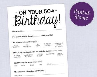 50th Birthday Party Game Card, Funny Milestone Printable PDF