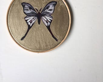 Butterfly in Gold painted on Calico Mounted on Embroidery Hoop