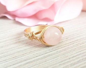 Rose Quartz Wire Wrapped Ring, Gold Jewelry, Custom Size, Crystal Ring, Natural Stone Ring