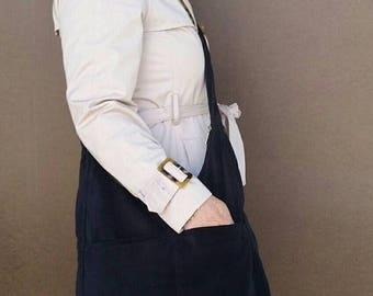 ON SALE Black Sling Cross body Bag Purse with Outside Pockets in Soft Velvet, Everyday Purse for Her, Casual Velvet Bag, Marion