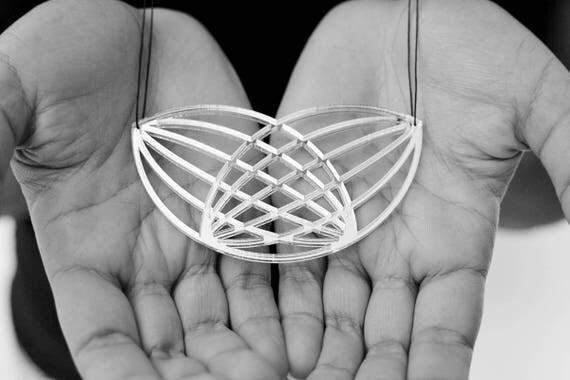 Necklace Mutation 05 - leaves - silver mirror - statement jewellery - contemporary jewelry - minimalist - graphic - lasercutting - acrylic