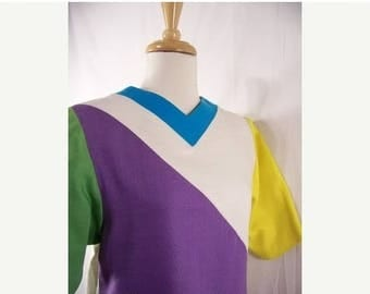 On Sale 50% OFF 70s Vintage Mollie Parnis Color Block Linen Sheath Dress Montaldos Sz 8/10