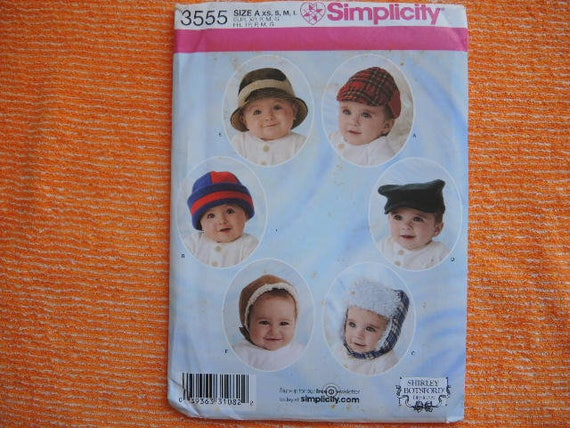 6f85bef6070 2000s sewing pattern Simplicity 3555 baby and toddlers hats UNCUT ...
