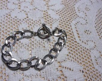 Silver tone link bracelet, silver tone bracelet, chain link bracelet, vintage bracelet, hippie bracelet