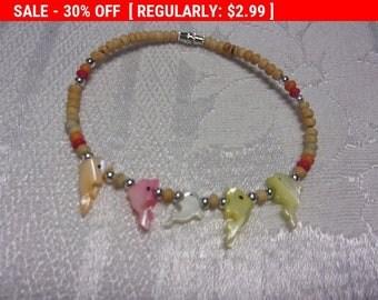 Vintage bead dolphin bracelet, hippie, boho