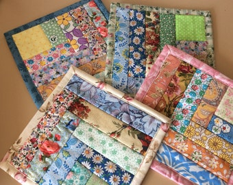 Floral Drink coasters. Mug coasters. Patchwork coasters. 4 coasters Shabby Chic