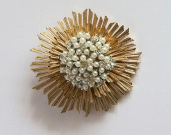 Vintage Marboux Brooch 2063 - Marcel Boucher Cluster Starburst Faux Pearl and Rhinestones Mid Century