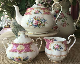 Royal Albert Lady Carlyle Tea Set Teapot Covered Sugar Bowl and Creamer Perfect