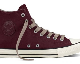 Converse Burgundy High Top Coated Leather Wedding Mens w/ Swarovski Crystal Jewel Chuck Taylor All Star Ladies Trainers Sneaker Shoes