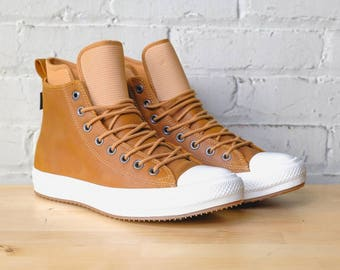 Leather Converse Tan Brown All Weather Waterproof High Top Boots w/ Swarovski Crystal Jewel Rhinestone Chuck Taylor All Star Ladies Shoes