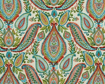 Red Paisley Fabric - Woven Cotton Upholstery - Modern Paisley Upholstery - Aqua Red Green - Paisley Curtain Fabric - Heavyweight Material