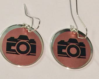 Camera earrings,Resin jewelry,vinyl earrings,handmade earrings,accessories,football season,college football