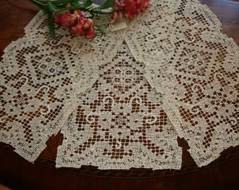 Filet Lace doilies, Butler linens, Tea stained lace, Store stock vintage doilies, set of 3, small runners, tray liners, tray linens, oblong
