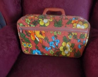 Vintage 60s Bantam Suitcase / Green, Blue, Yellow, and Orange Floral Flower Power Travel Case with orange handle