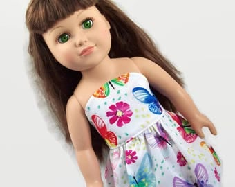 Summer Sleeveless Butterfly Dress - Made to Fit 18 Inch Dolls - Girl Doll Clothes - Doll Clothing