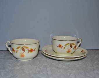 Vintage Hall Jewel Tea Autumn Leaf Tea Cup Saucer Set of 2 ~ Fall Kitchen ~ Thanksgiving Decor