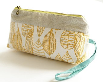 zipper purse in lemon and grey. Zipper pouch. 8inch purse, fabric purse - reduced to clear