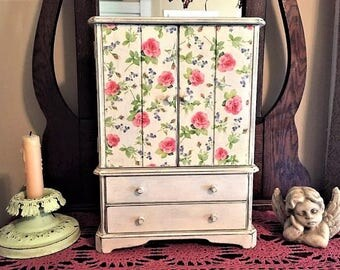 Large Upcycled Vintage Wood Jewelry Box/Armoire, Hand Painted in Annie Sloan 'Old White' Chalk Paint,  Pink Rose Doors