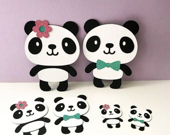 PANDA Bear Die cuts CHOOSE your SIZE boy girl Gender reveal cutouts Birthday Party baby shower decor diecuts cut outs toppers embellishment