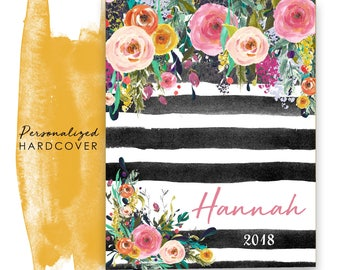 2018 Personalized Planner Hardcover Agenda Calendar with Watercolor Floral on Black Stripes
