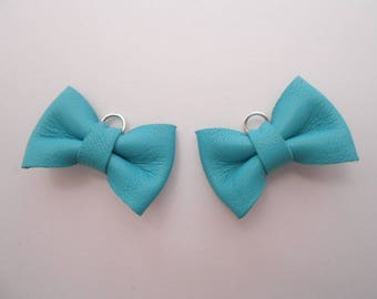 2 mini bows 2 x 3 cm turquoise genuine leather