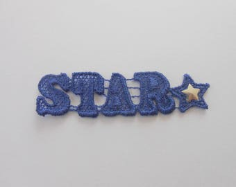 Applique star Blue 6.5 x 1.7 cm