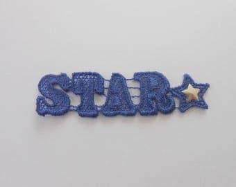 Applique star Blue 6.5 x 1.7 cm