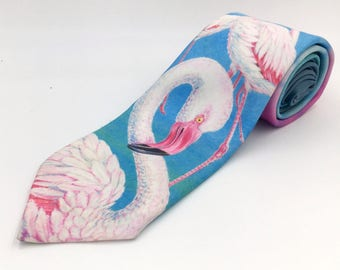 Vintage 1980s Blue and Pink Polyester Novelty Tie with Flamingo Print by Ralph Marlin