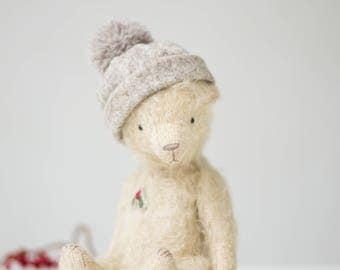 Mohair Teddy Bear Wool Pom Pom Hat 7 Inches, Stuffed Animal Holly Embroidery, Handmade Toy, Artist Teddy Bear, Christmas Gift