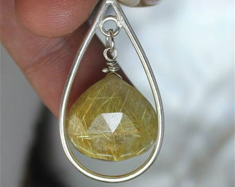 Golden rutilated quartz and Sterling Silver Pendant