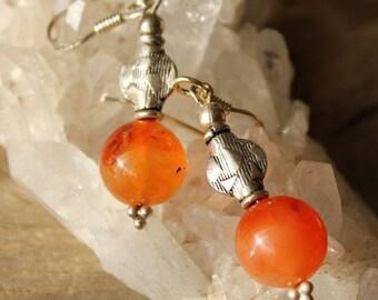 Carnelian stone and Silver earrings